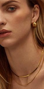 DEARMAY Gold Herringbone Necklace for Women 18K Gold Filled