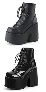 chunky high heel platform boots