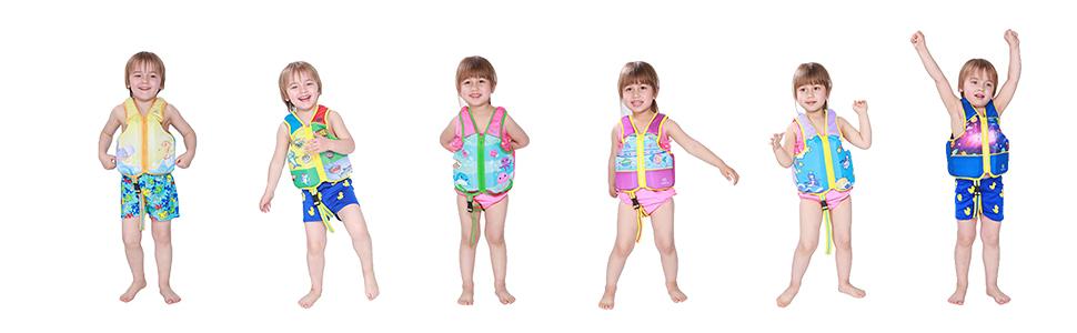 model picture different pattern kids swim vest