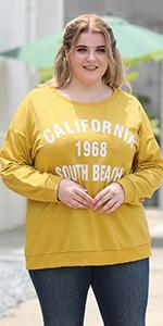 Nemidor Womens Plus Size Sweatshirts Letter Pattern Print Crew Neck Long Sleeve Pullover Tops
