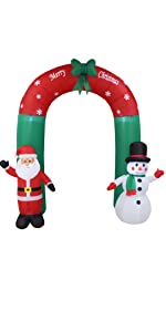 8 Foot Tall Lighted Christmas Inflatable Santa and Snowman Archway with Bow LED Lights Yard Decor