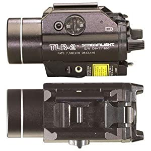 Streamlight 69120 TLR-2 Rail Mount Strobing Tactical Light with Laser Sight attached to hand gun.