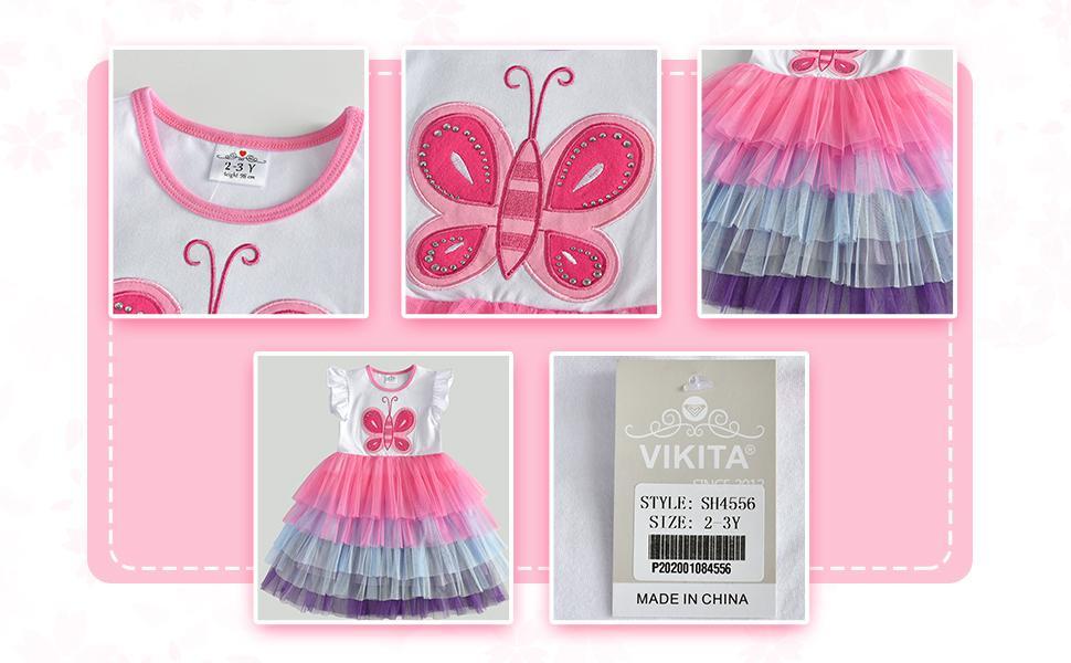VIKITA Vestido Patrón de Mariposa Unicornio Algodón Tulle Tutu Manga Larga Niñas