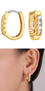 Sparkling cz huggie cuff earrings