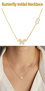 B butterfly necklace
