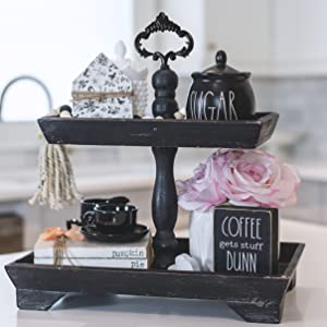 2 tier rectangle square rustic black farmhouse tiered tray with interchangeable handles