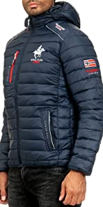 Winter jacket for men in navy with Norway flag