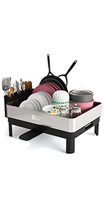 Dish Drying Rack, Large Kitchen Dish Rack and Drainboard Set with Easy Installation