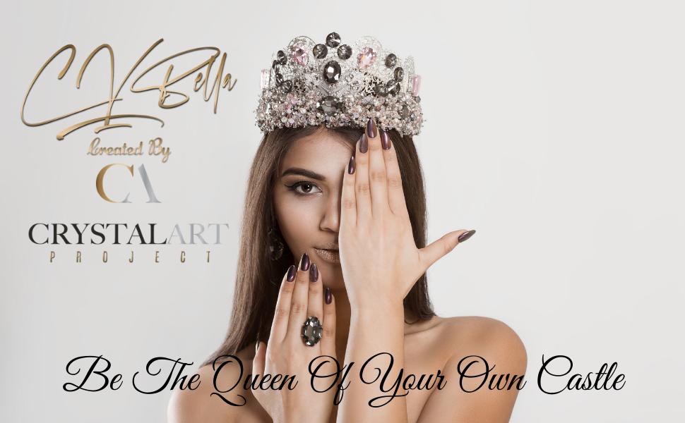 queen love crystal heart diamonds gold silver necklace bracelet earrings woman