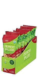 Friendly Grains Crunchy Rollers Apple Cinnamon. Allergen Friendly puffed brown rice snacks.