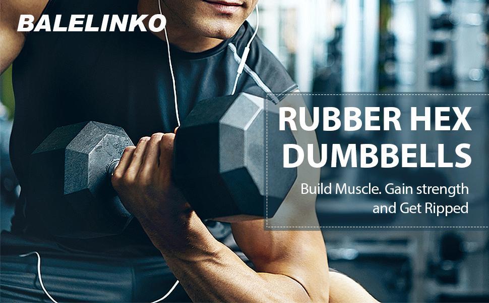 Balelinko Hex Dumbbells Weight Set Rubber Coated Cast Steel Black Dumbbell