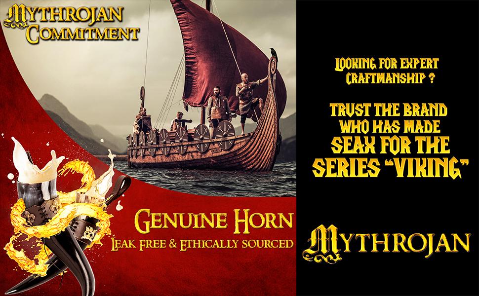 Mythrojan wolf drinking horn viking longboat larp reenactment sca warrior