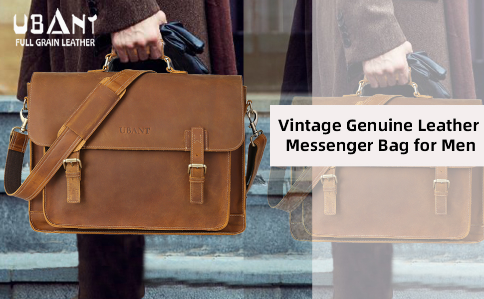 full grain leather messenger bag for men