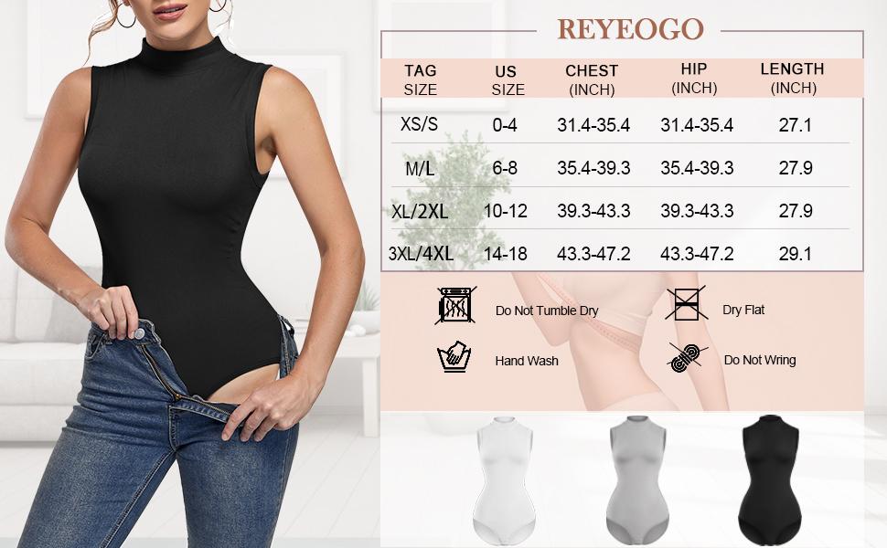 turtleneck bodysuit size chart