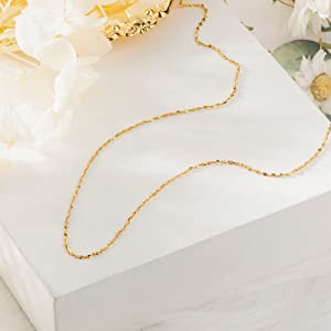 14K Gold Plated Plat Mirror Link Chain Necklace