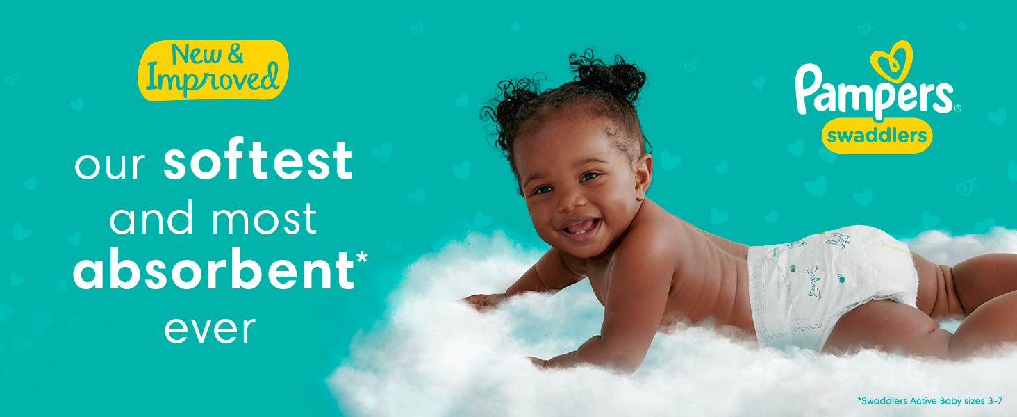 New & Improved our softest and most absorbent* ever - Pampers Swaddlers