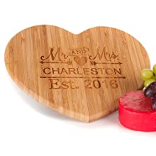 Personalised Heart Wooden Chopping Board Wedding Gift Idea For Bride And Groom