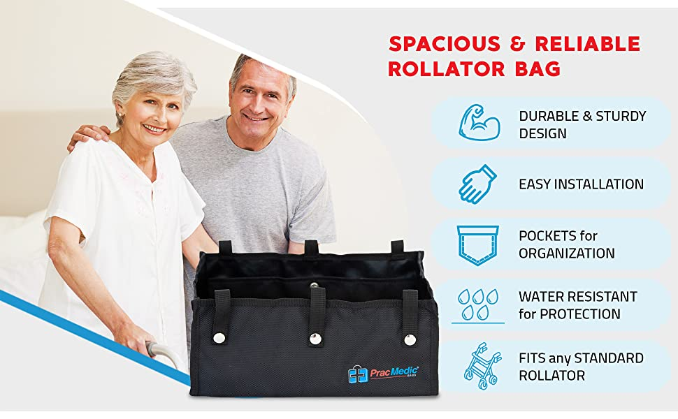Spacious and Reliable Rollator Bag by PracMedic Bags