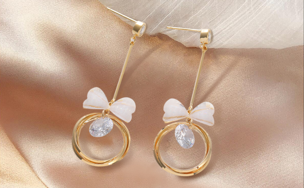 14K Gold Plated Hoops with Bow tie Dangle earrings