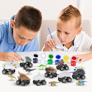 Dinosaur Car Painting Toys Set
