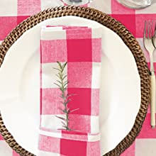 pink plaid napkin
