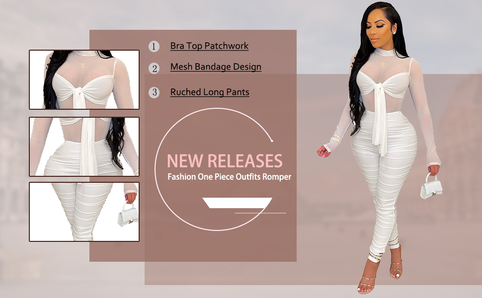 Women's Sexy See Through Romper Sheer Mesh Tie Front Patchwork Bodycon Jumpsuits 1 Piece Clubwear