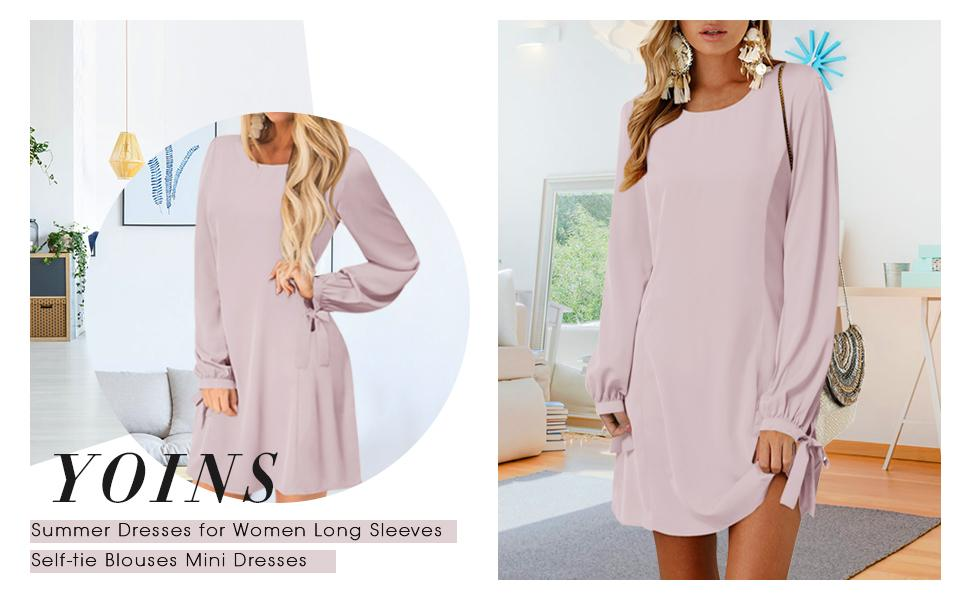 Summer Dresses for Women Long Sleeves T Shirts Solid Crew Neck Tunics Self-tie Blouses Mini Dresses