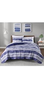3-blue Pacific Stripe printed 3-Piece Microfiber Quilt Set