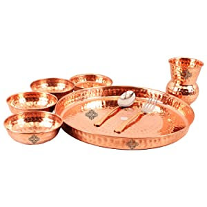 Pure Copper Traditional Kitchen Thali/Dinner Set Of 8