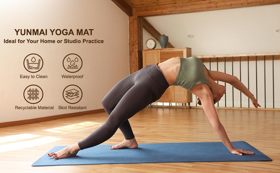 YUNMAI 6mm Tapis de Yoga Insipide TPE avec Sac Double Face Antid/érapant Non Slip Non Toxic Tapis de Pilates 183 cm X 61 cm X 0,6 cm