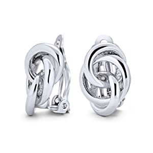 Interlocking Rope Love Knot Clip On Earrings Polished 14K Gold Silver Plated Brass