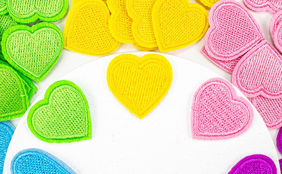 Colorful mini iron on patches heart shaped