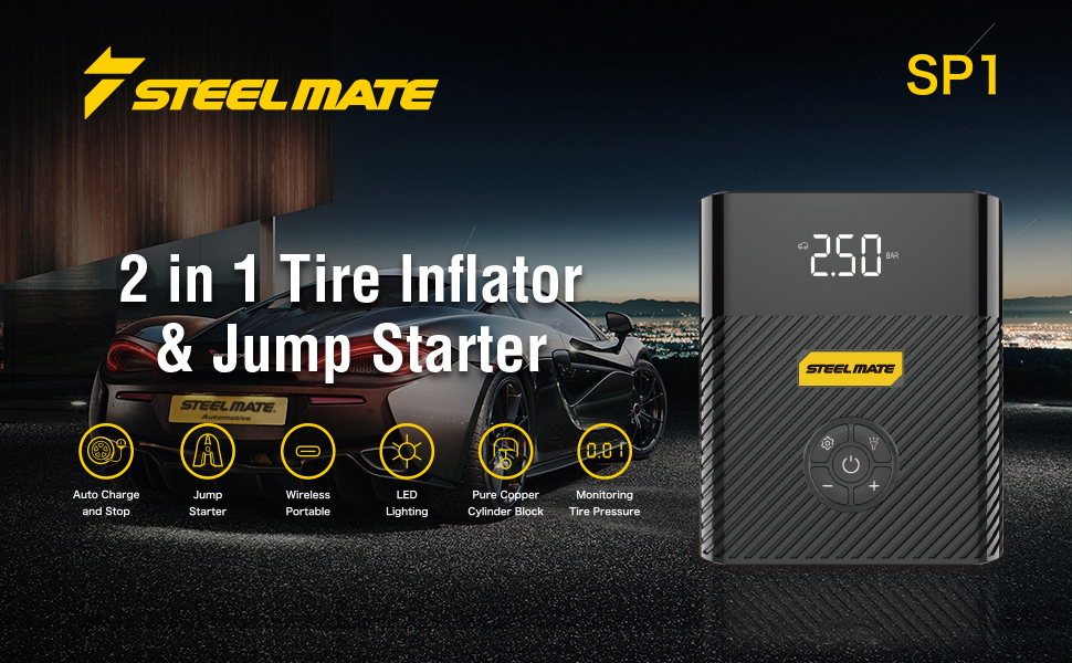 STEEL MATE Portable Multifunctional Tire Inflator and Jump Starter