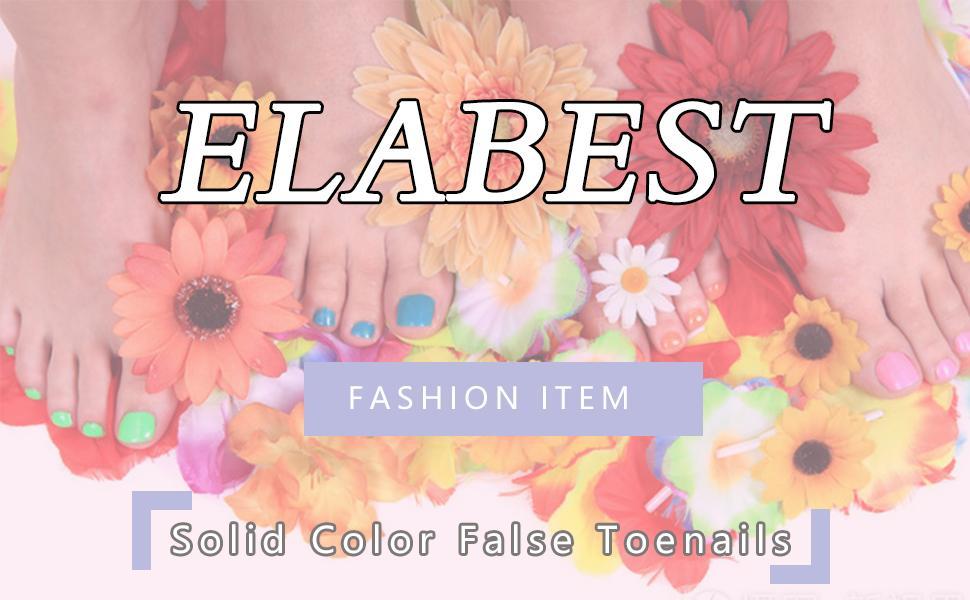 ELABEST Solid Color Matte False Toe Nails White Chic Press on Toe Nails Short Square Fake Toenails