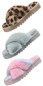 women cross band slippers