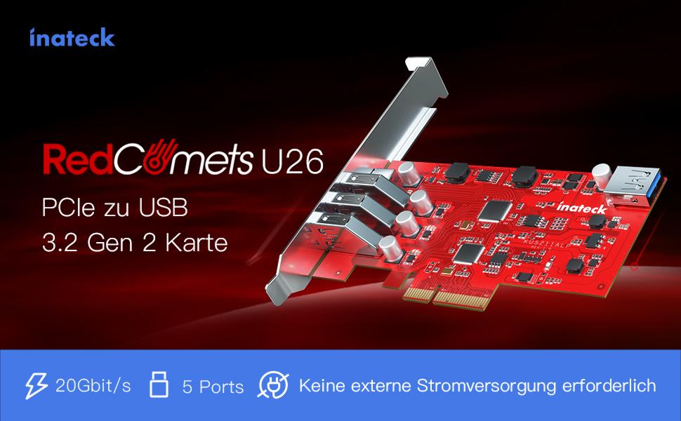 Inateck RedComets U26, PCIe USB 3.2 gen 2 Karte, kompatibel mit Low Profile