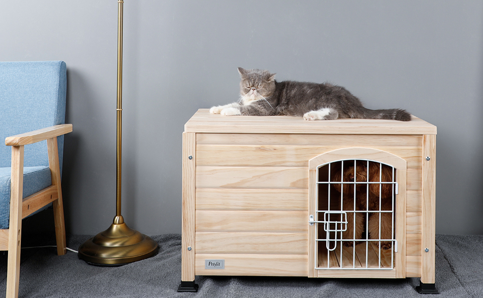 Petsfit Dog Houses for Medium Dogs Woden Dog House with Door
