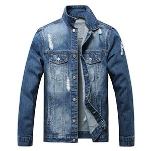 LUCKAMILEE Jean Jacket for Men Navy blue