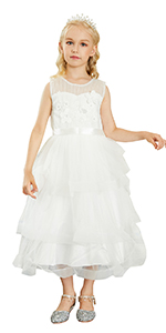 Kids Little Girlsamp;#39; Dress Lace Princess Party Formal Evening Wedding Pageant Embroidery Bow White