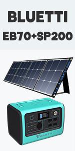 BLUETTI Portable Power Station EB70+SP200