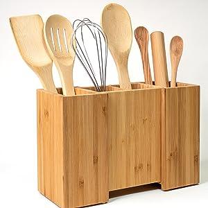 Holder with utensils side