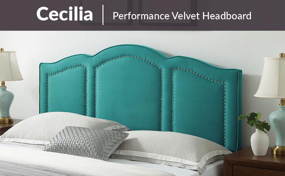 Cecilia Full/Queen Performance Velvet Headboard, Teal