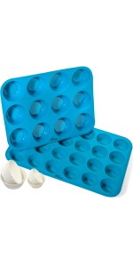 KPKitchen Silicone Muffin Pans Set (Regular 12 Cup amp;amp;amp;amp;amp;amp; 24 Mini Cup Sizes)