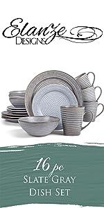 Slate gray 16 piece ribbed dinnerware set
