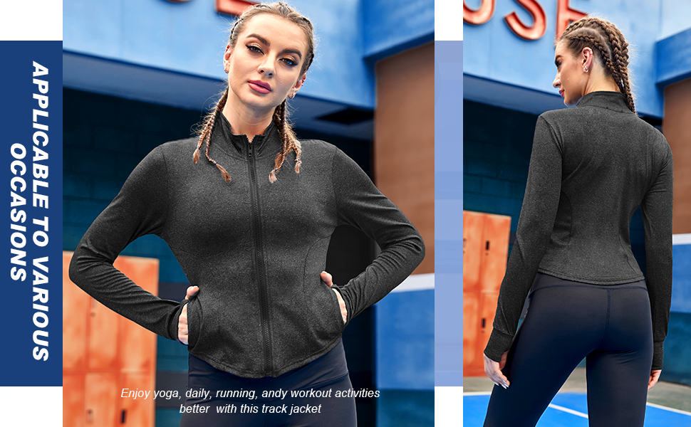 Women workout jacket with pockets