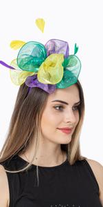 Diamond Organza Tea Party Fascinator Hat Cocktail Party Headwear