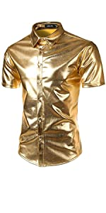 Mens Metallic Shiny Nightclub Styles Dress Shirts
