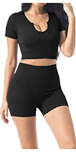 seamless ribbed workout yoga outfits sets for women 2 piece