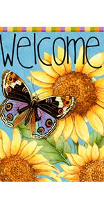 Hzppyz sunflower butterfly welcome