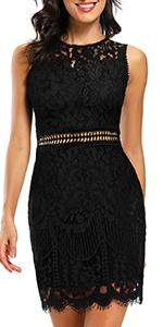 Women Elegant Floral Lace Round Neck Short Sleeves Cocktail Party Bodycon Midi Dress